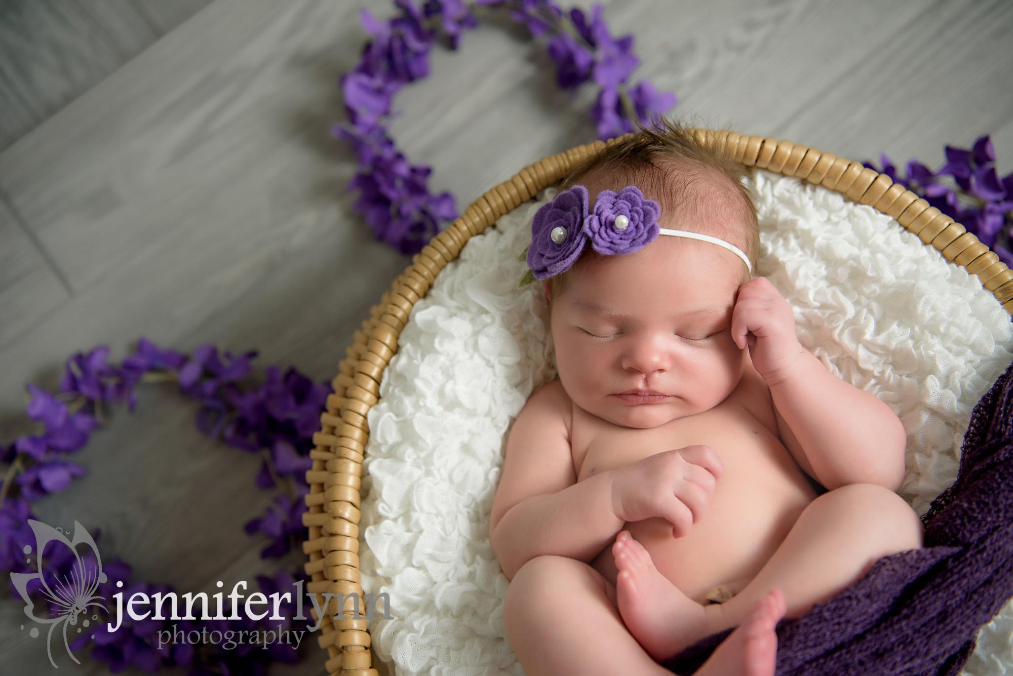 Newborn Girl Basket Purple Wrap and Flowers