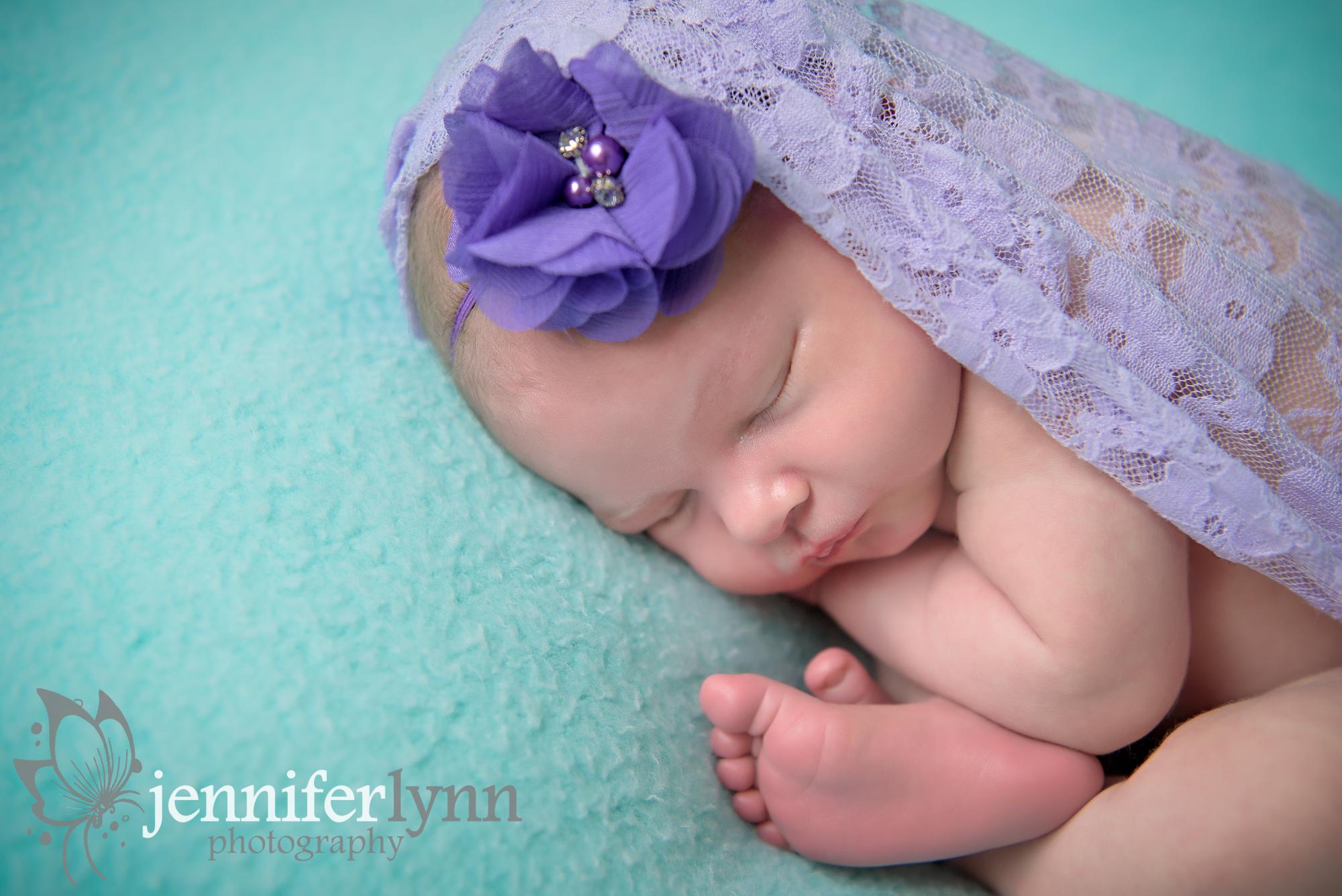 Newborn Girl Purple Lace and Mint