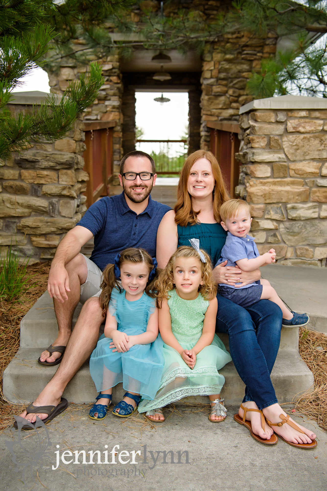 Family of five photo outdoors