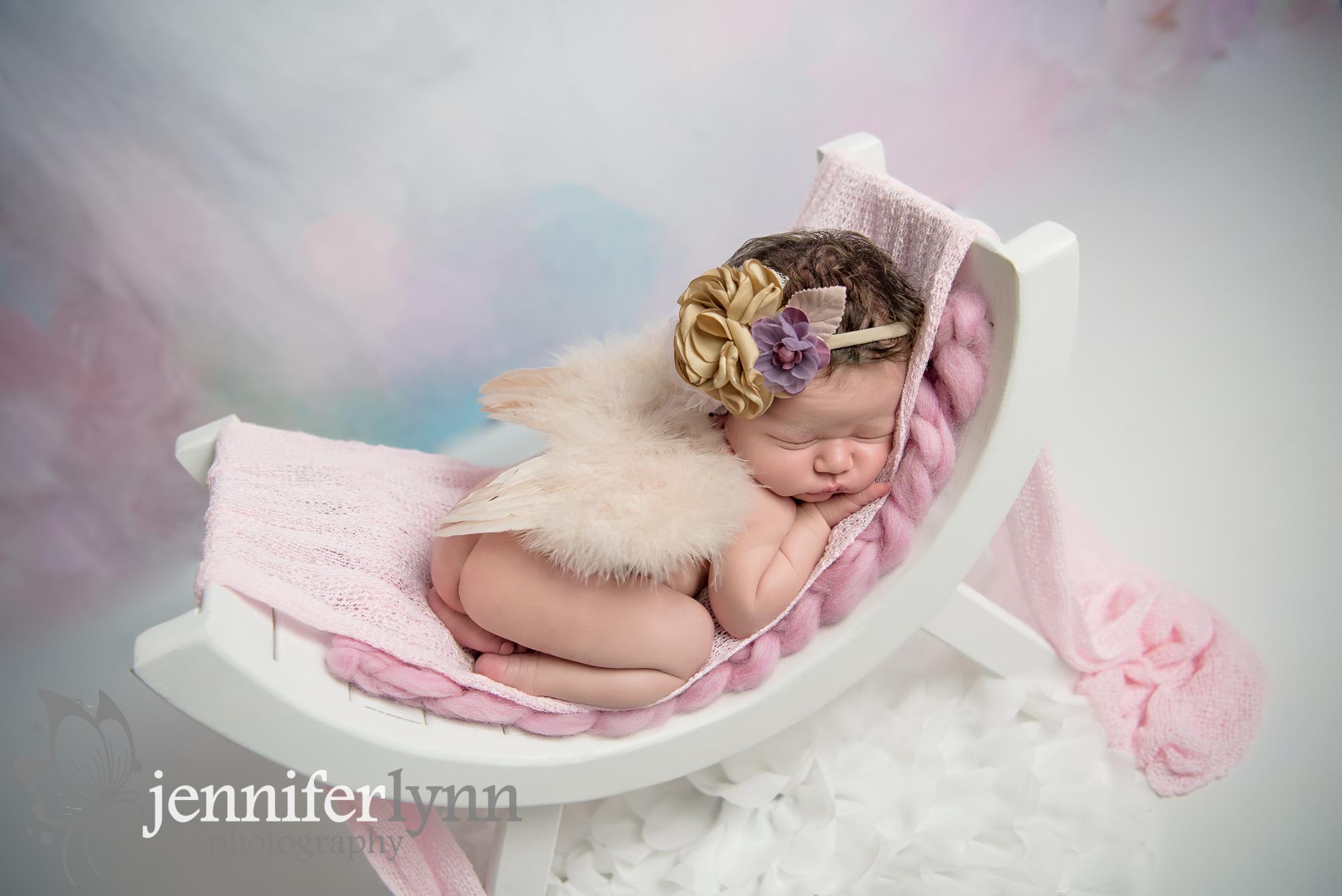 Newborn Girl Florals Pink White Bench