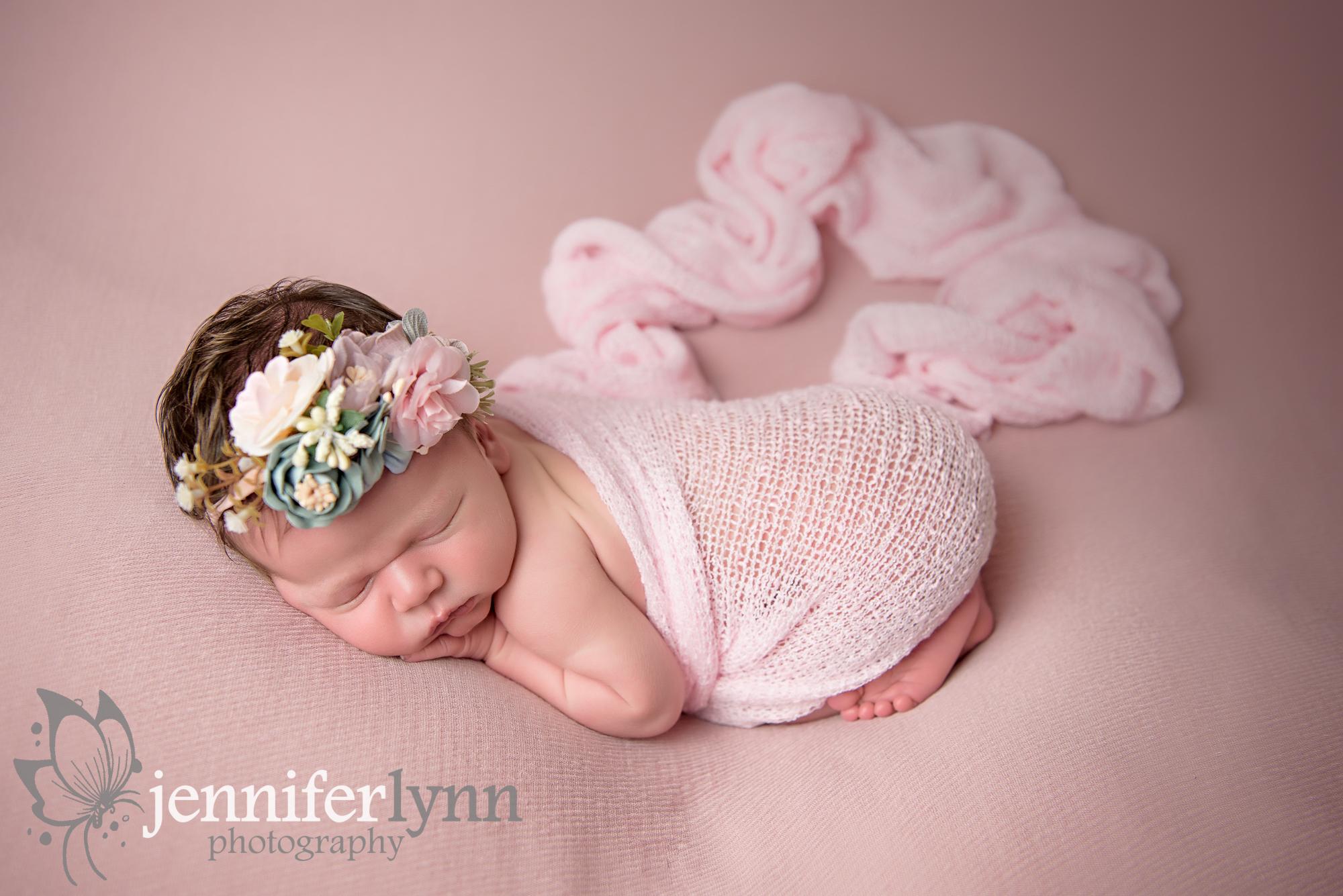 Newborn Girl Pink Fabric and Flowers