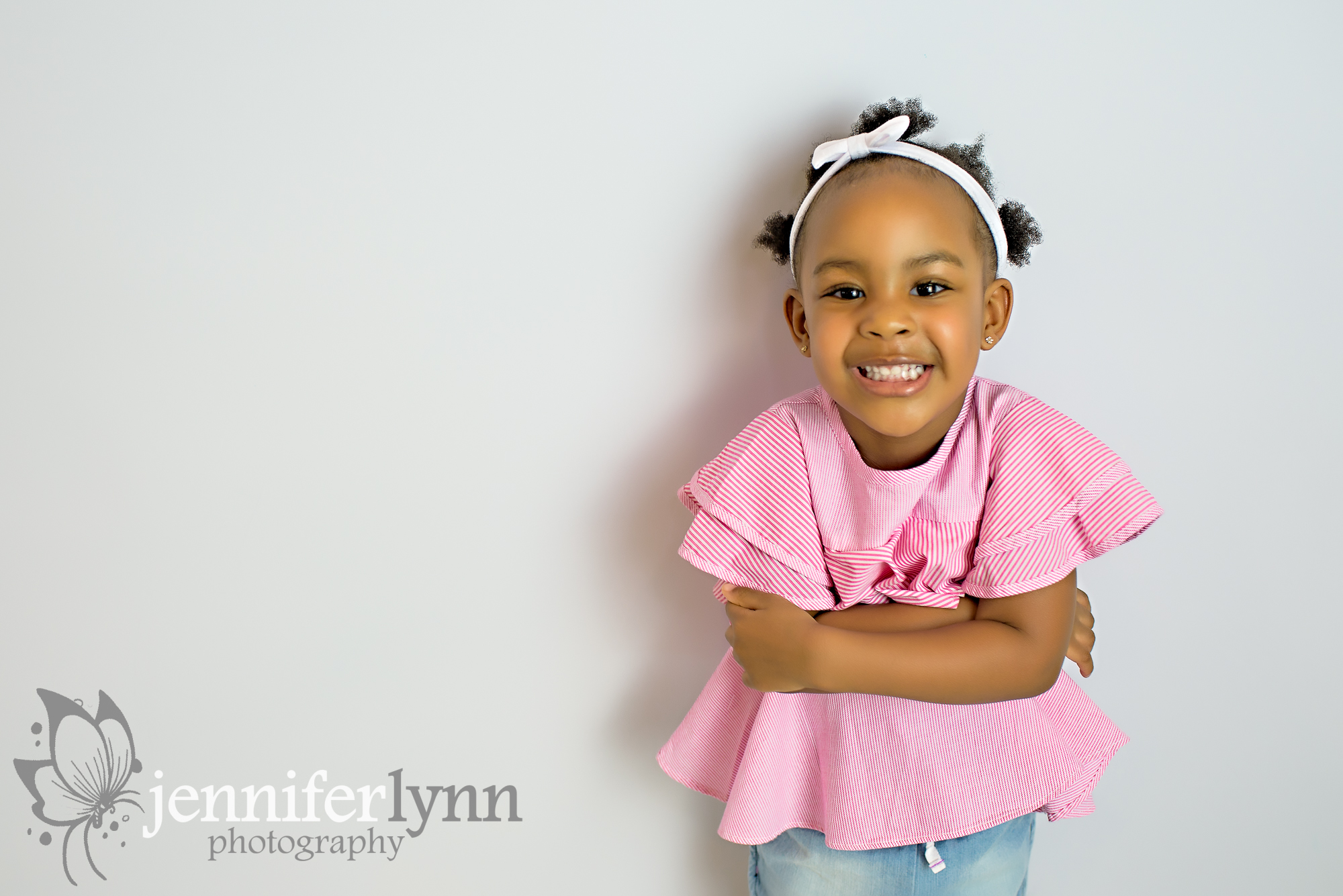 Little Girl White and Red shirt