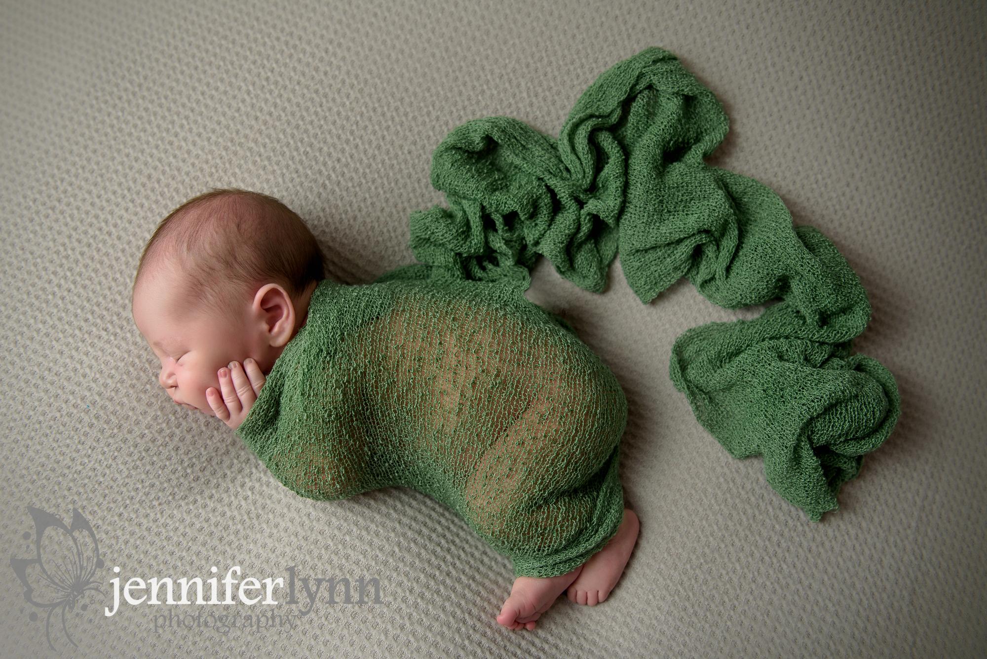 Newborn Boy Green Wrap Overhead