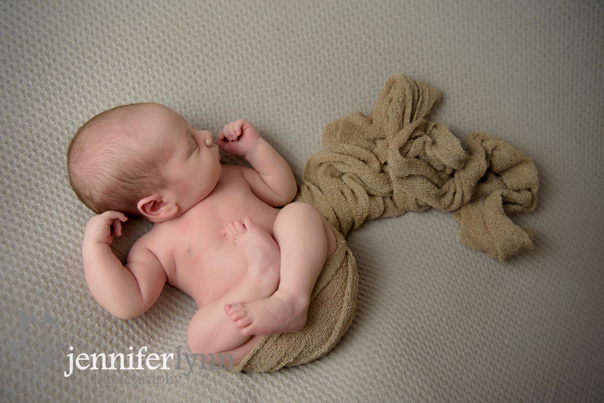 Newborn Boy Natural Pose Tan Colors