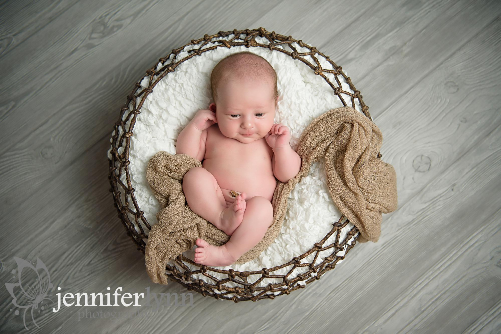 Newborn Boy Awake Basket Tan