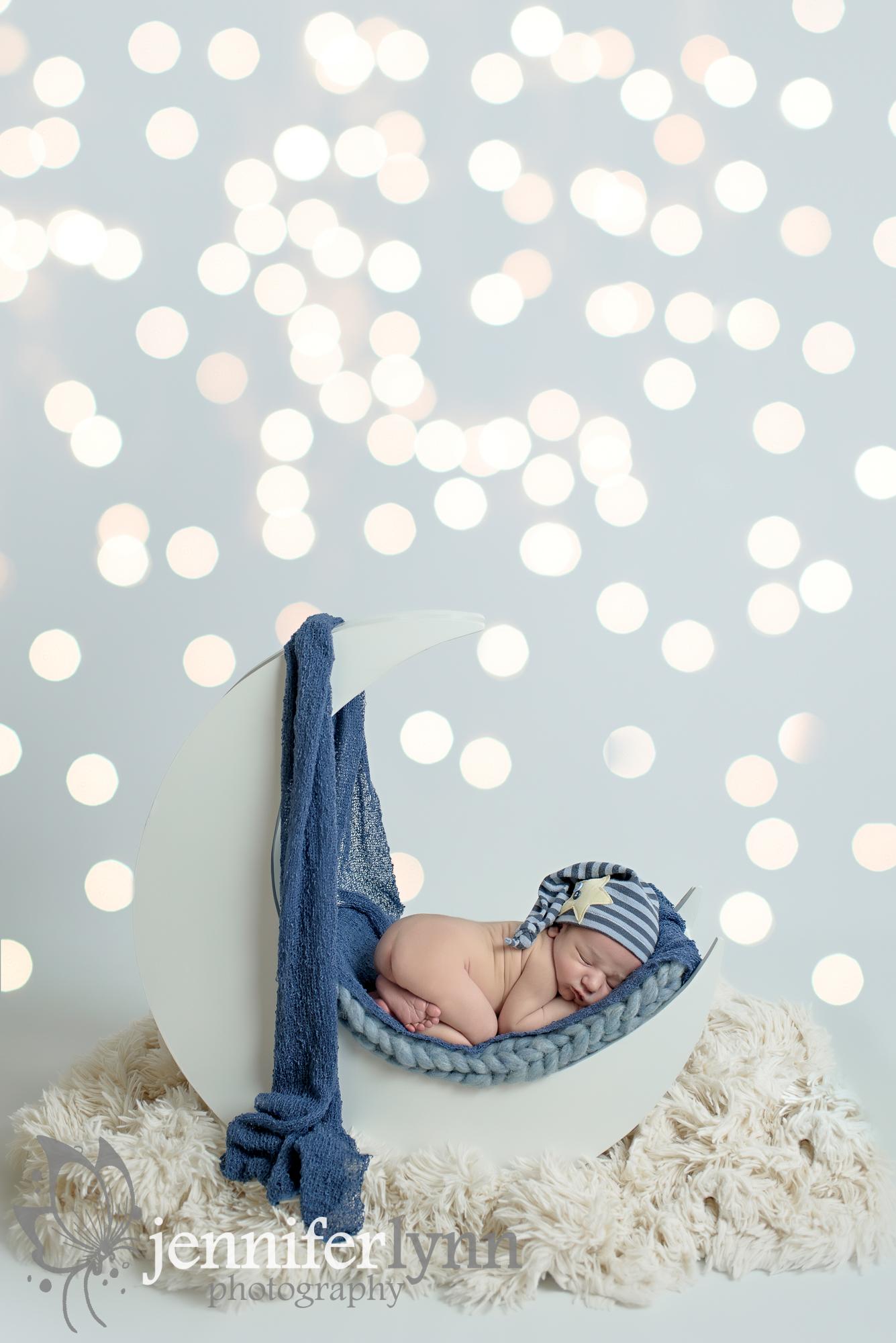 Newborn Boy Moon Prop Blue Star Cap