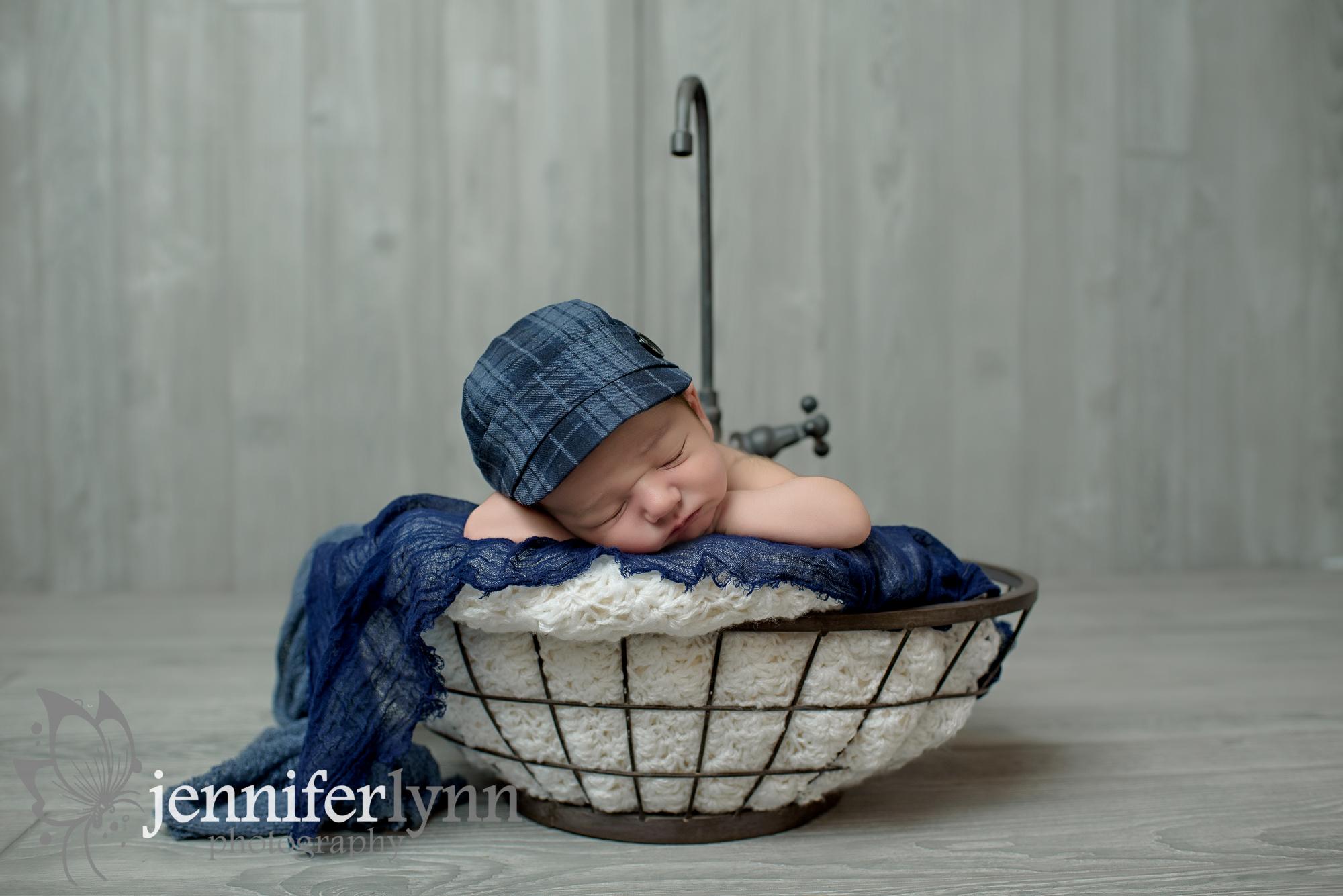 Newborn Boy Sink Prop Blue Wrap Plaid Newsboy Cap