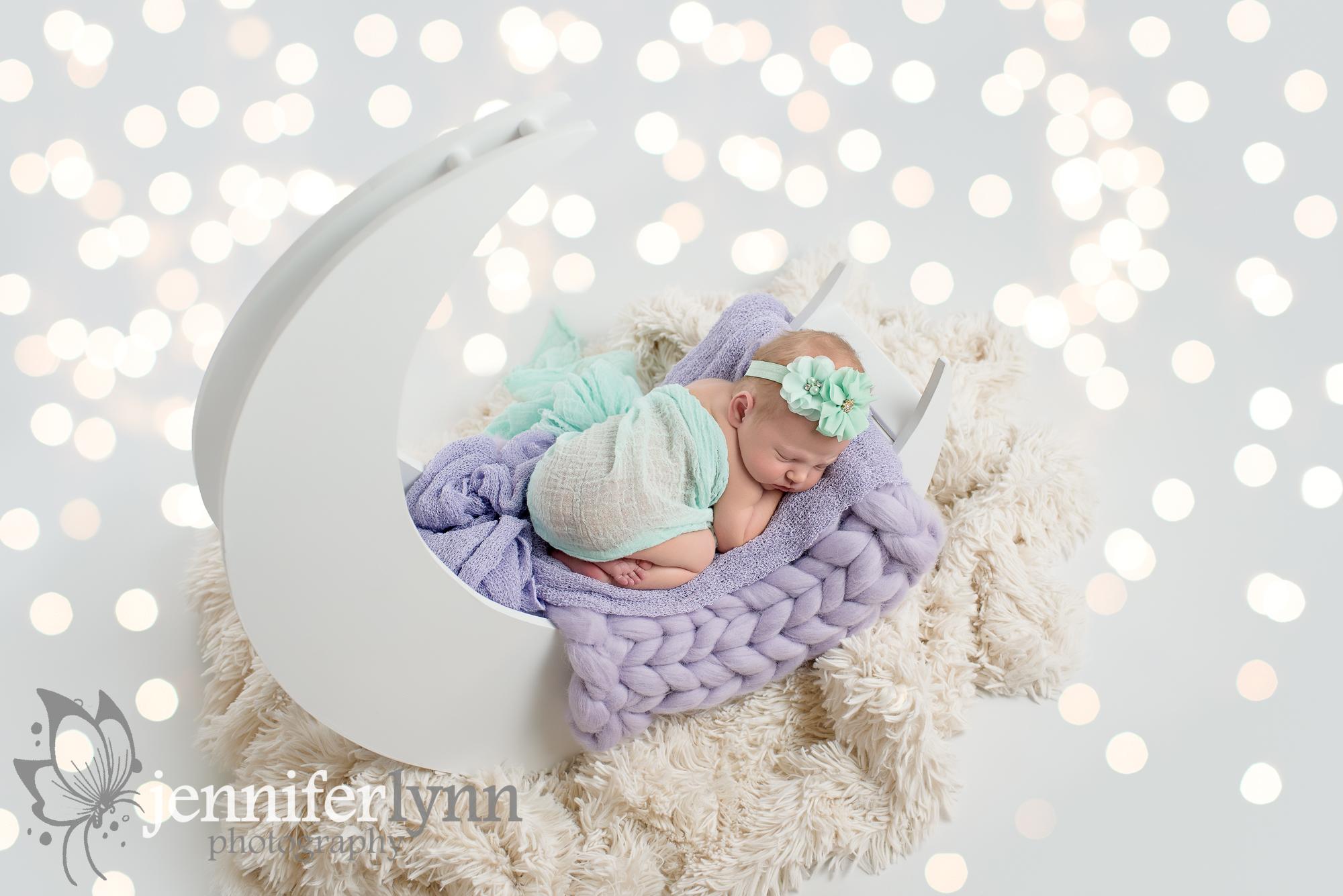Newborn Girl Moon Purple Mint
