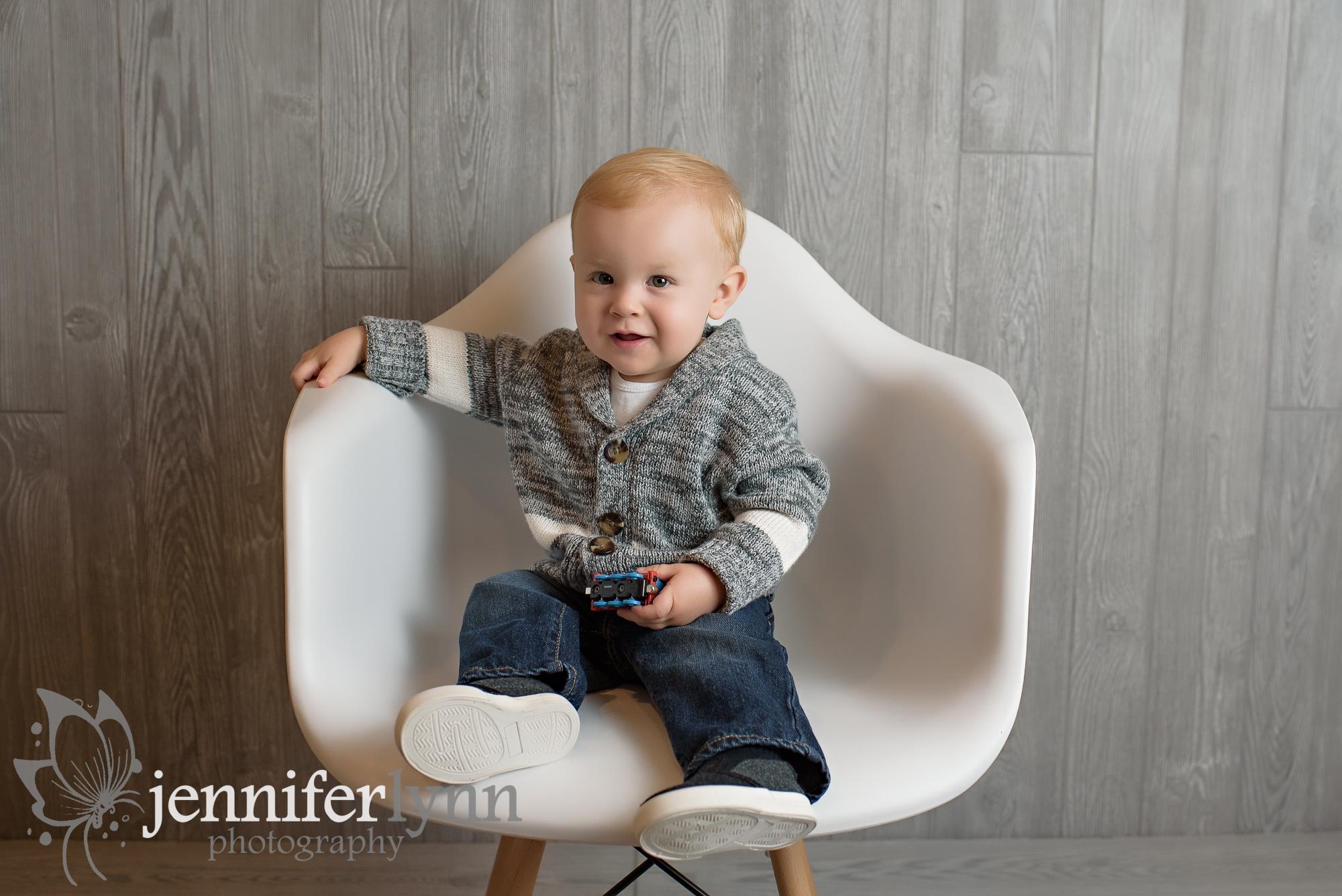 Baby Boy White Chair Studio