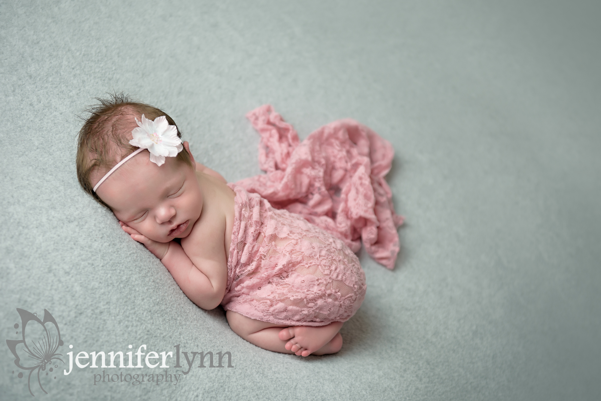 Newborn Girl Grey Blanket Pink Wrap