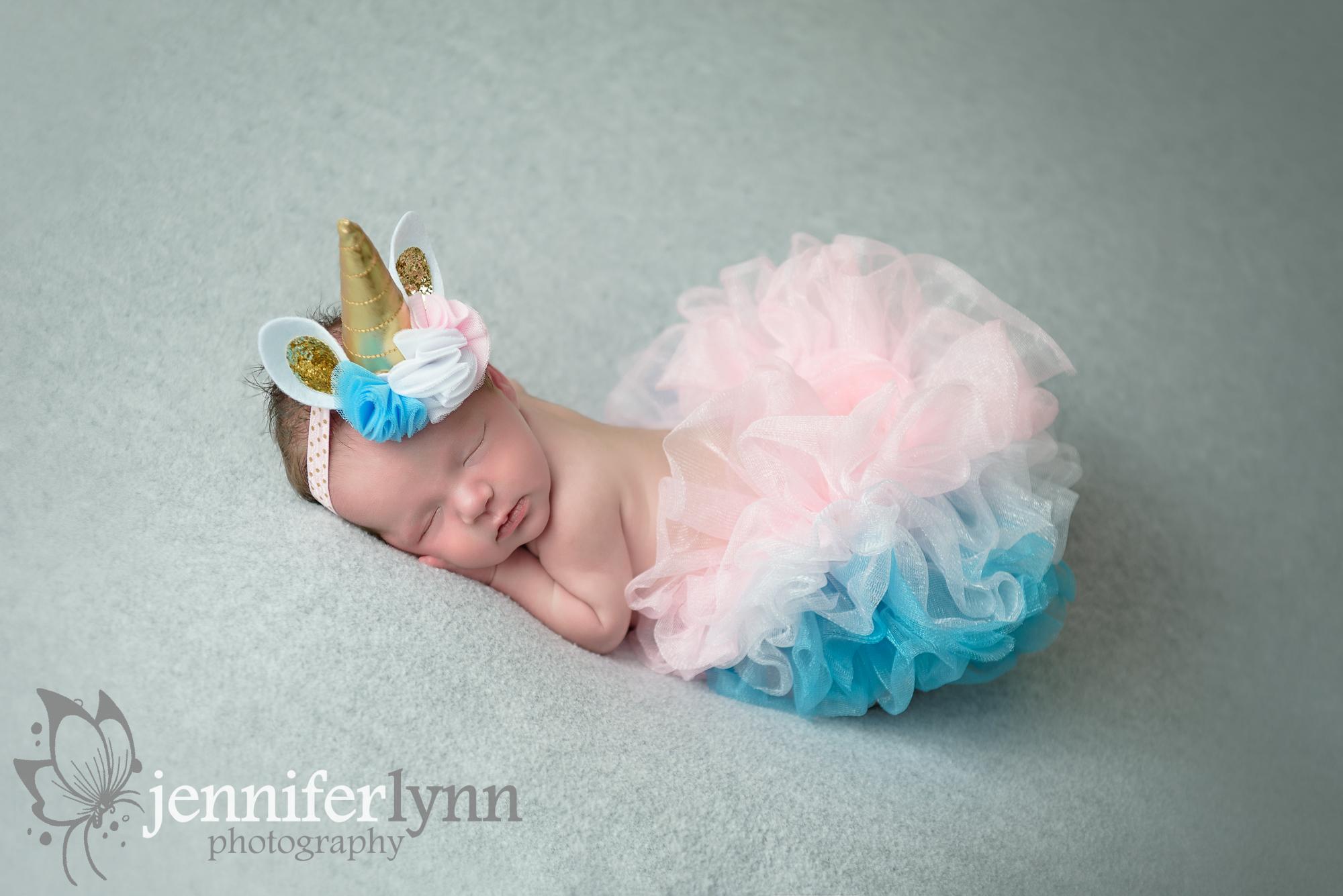Newborn Girl Unicorn Headband and Matching Tutu