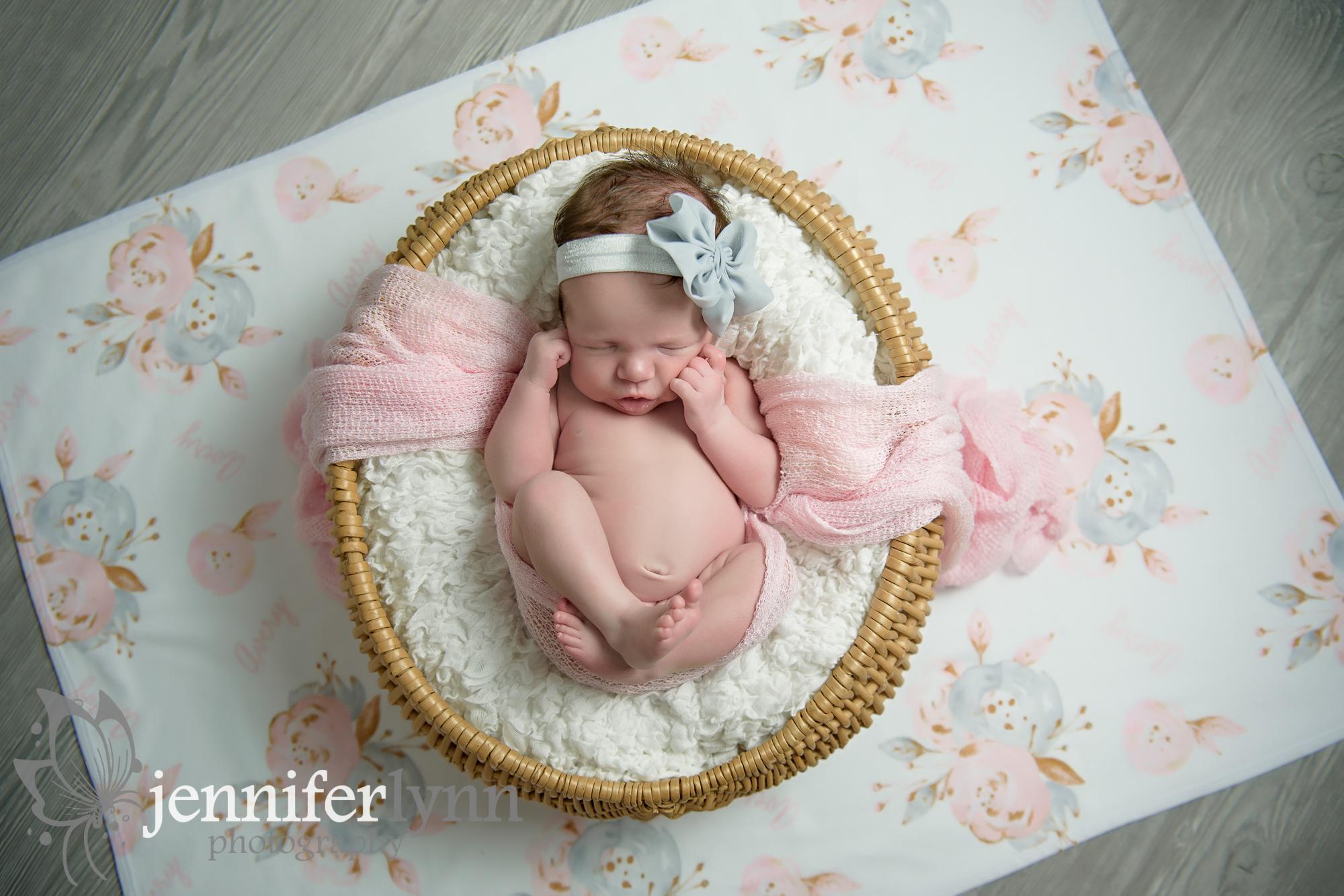 Newborn Girl Basket Overhead Personalized Blanket