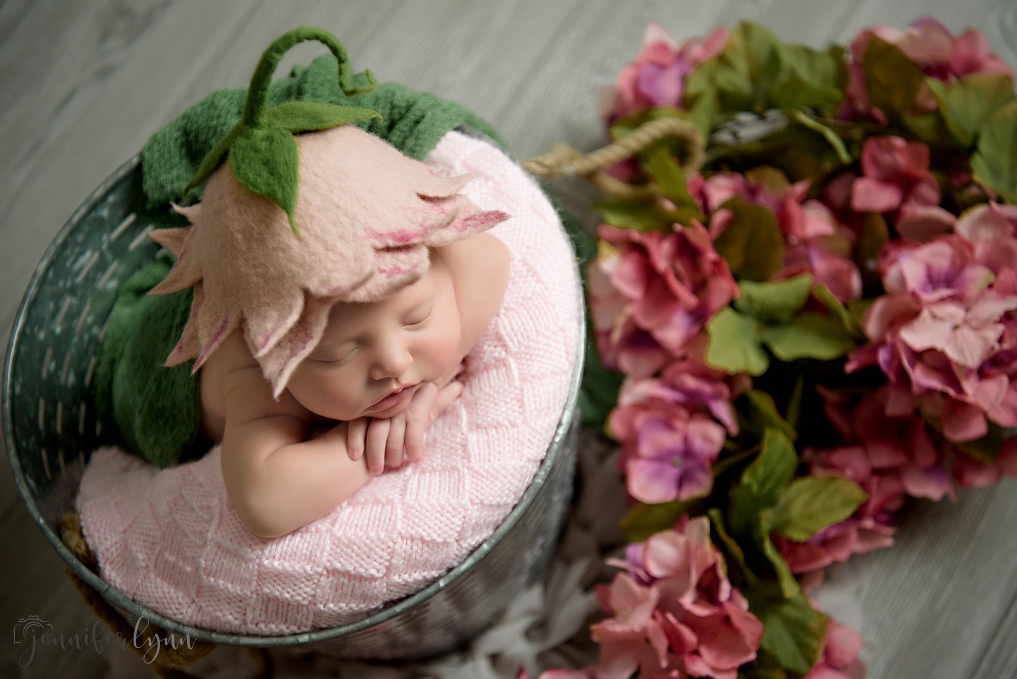 Newborn Girl Pink Flowers Bucket Floral Hat