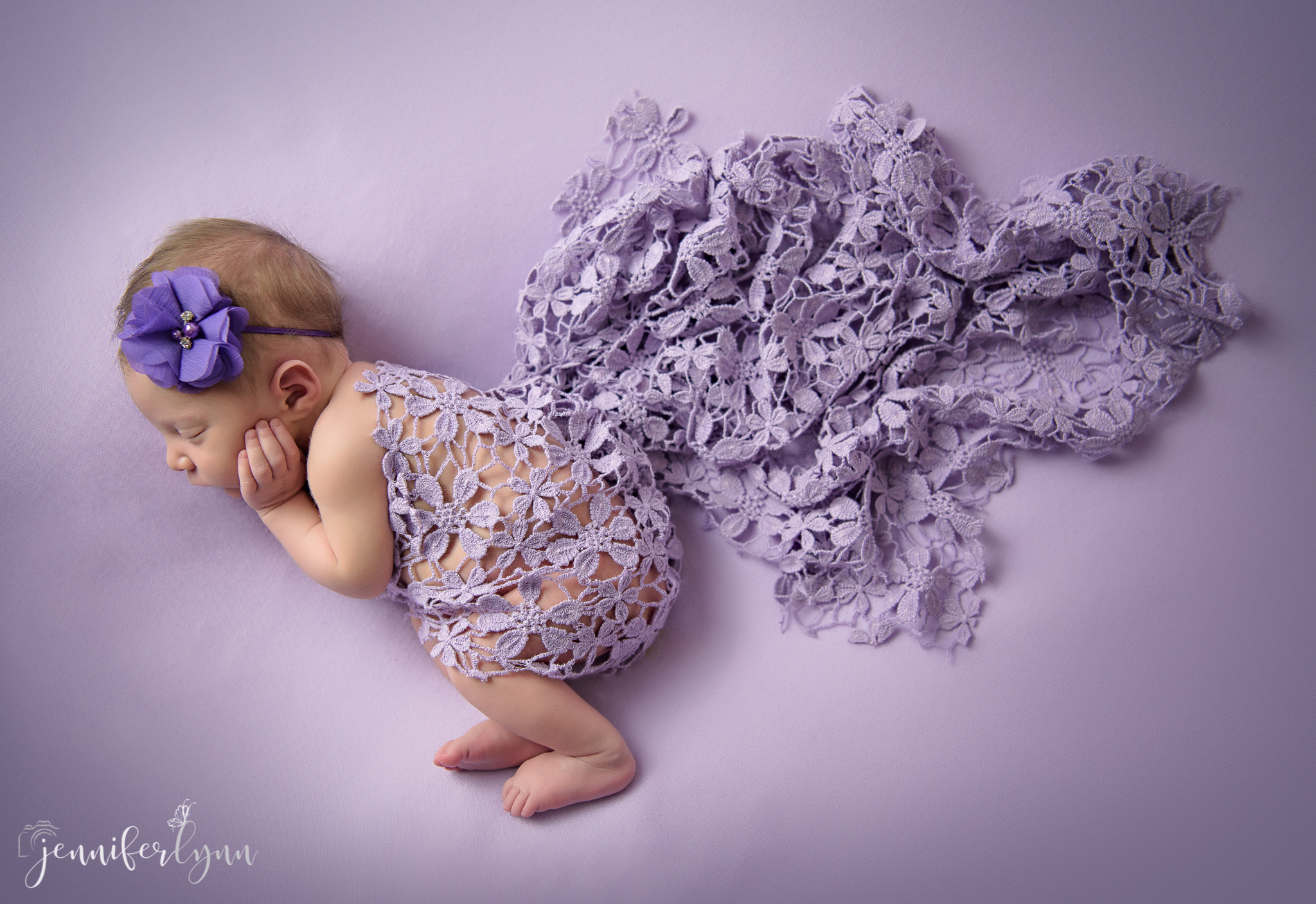 Newborn Girl Purple Floral Lace