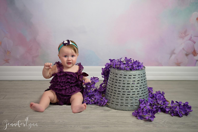 Purple Girl Sitter Pastel Silver Bucket