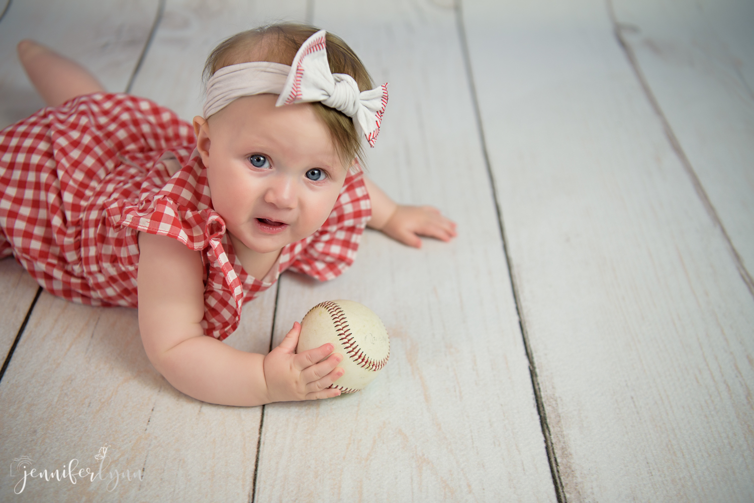 6 Month Baby Session Baseball Theme