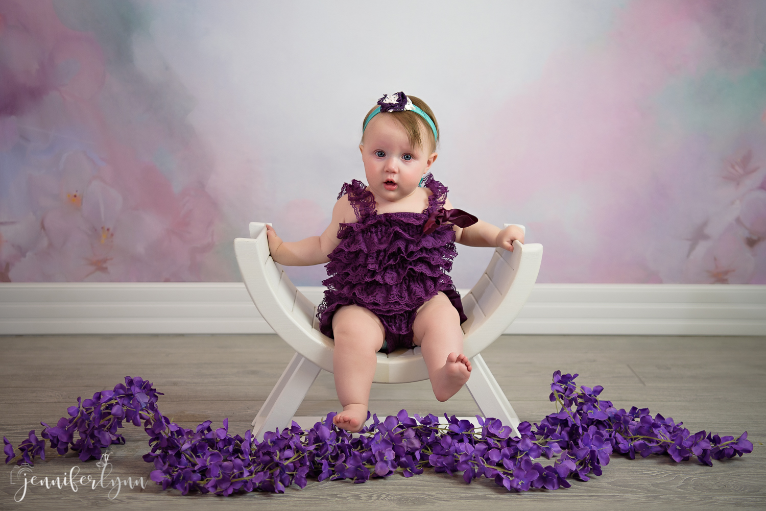 6 Month Sitter Curved White Bench Purple Romper
