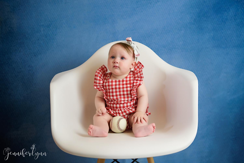 Baby Girl 6 Month Baseball Sitter White Chair