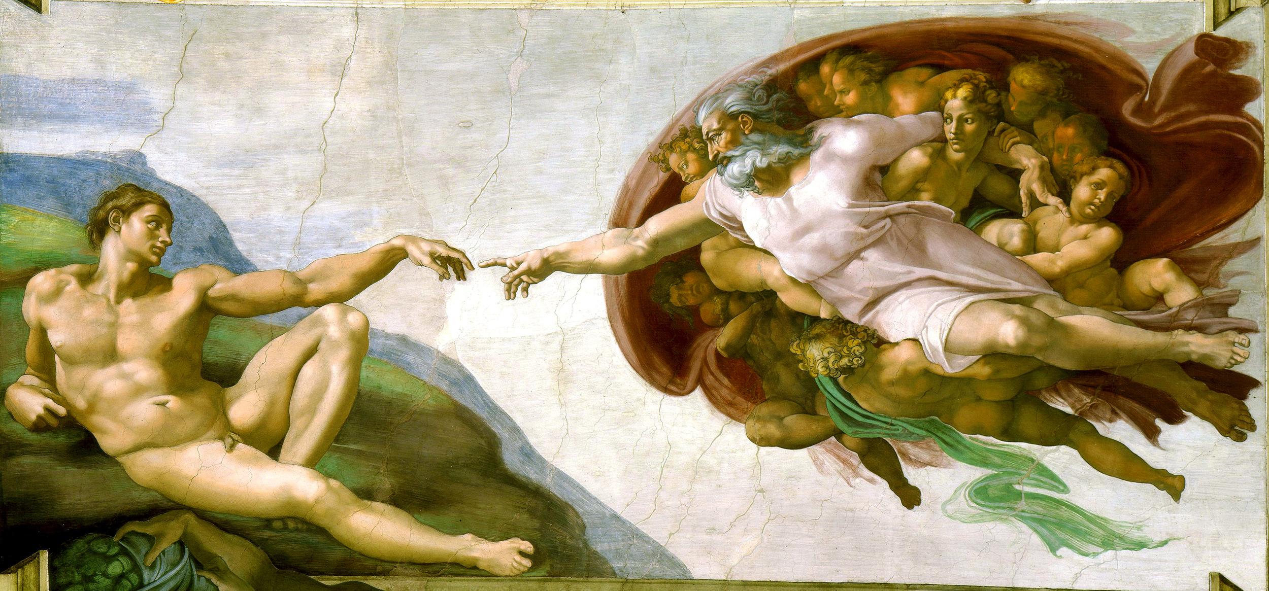 """""""Creación de Adám"""" by Michelangelo - Licensed under Public Domain via Wikimedia Commons"""