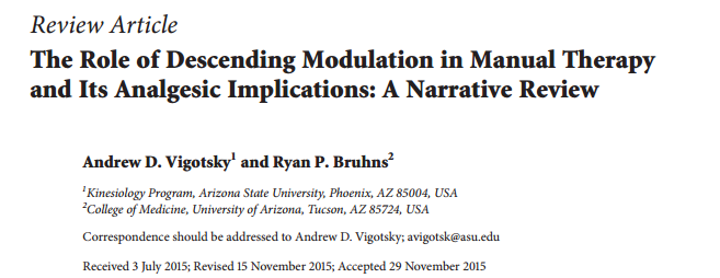 The Role of Descending Modulation in Manual Therapy and Its Analgesic Implications: A Narrative Review