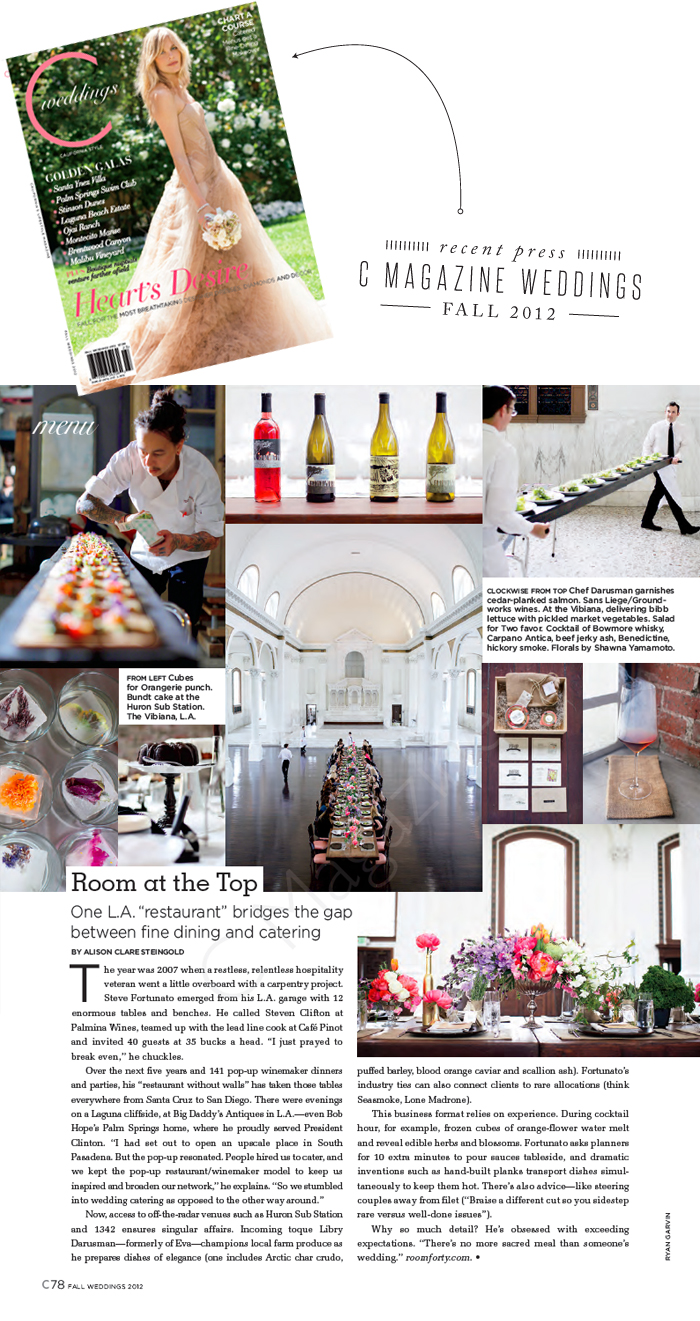 c magazine weddings fall 2012 press catering bridal resources and vendors
