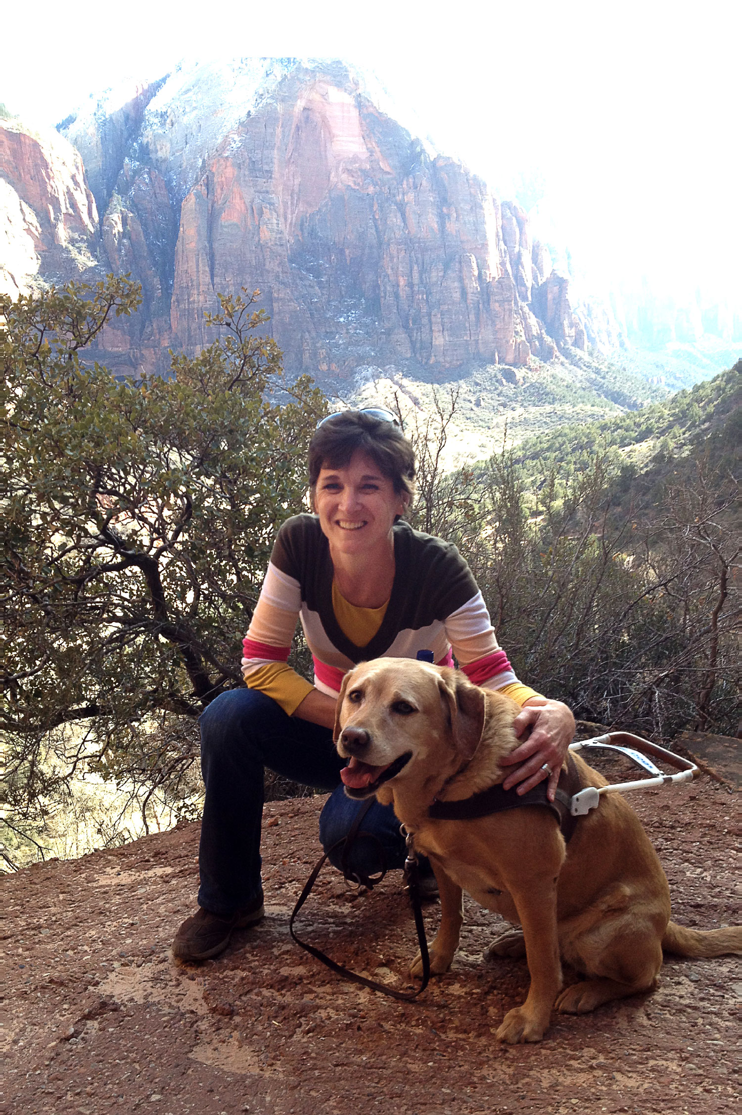 Becky and her second guide dog, Cricket, hiking Angels Landing at Zion National Park, in Utah.