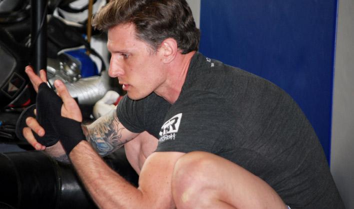 Bennett prepares to teach a Muay Thai boxing class.