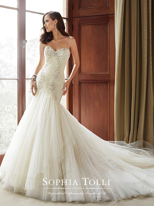 Sophia Tolli  Y21514 Color: ALMOND Size: 6     Retail Price: $1,685 Our Price: $1,180  East Valley Store