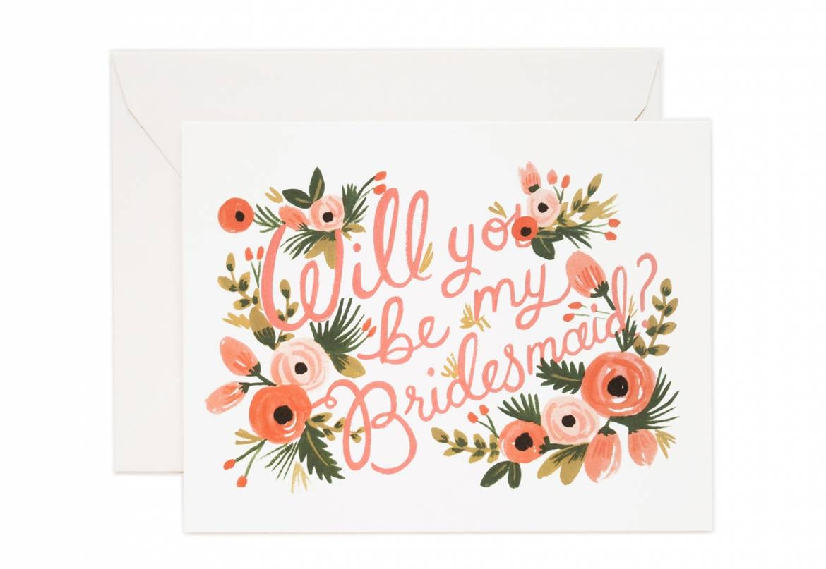 Rifle Paper co.  Will you be my bridesmaid card $4.50 each or $16.00/Set of 8
