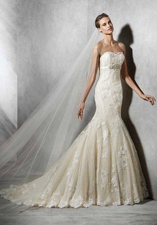 Pronovias Tessy Off White Size 14 Retail Price $2450  Our Price $1715