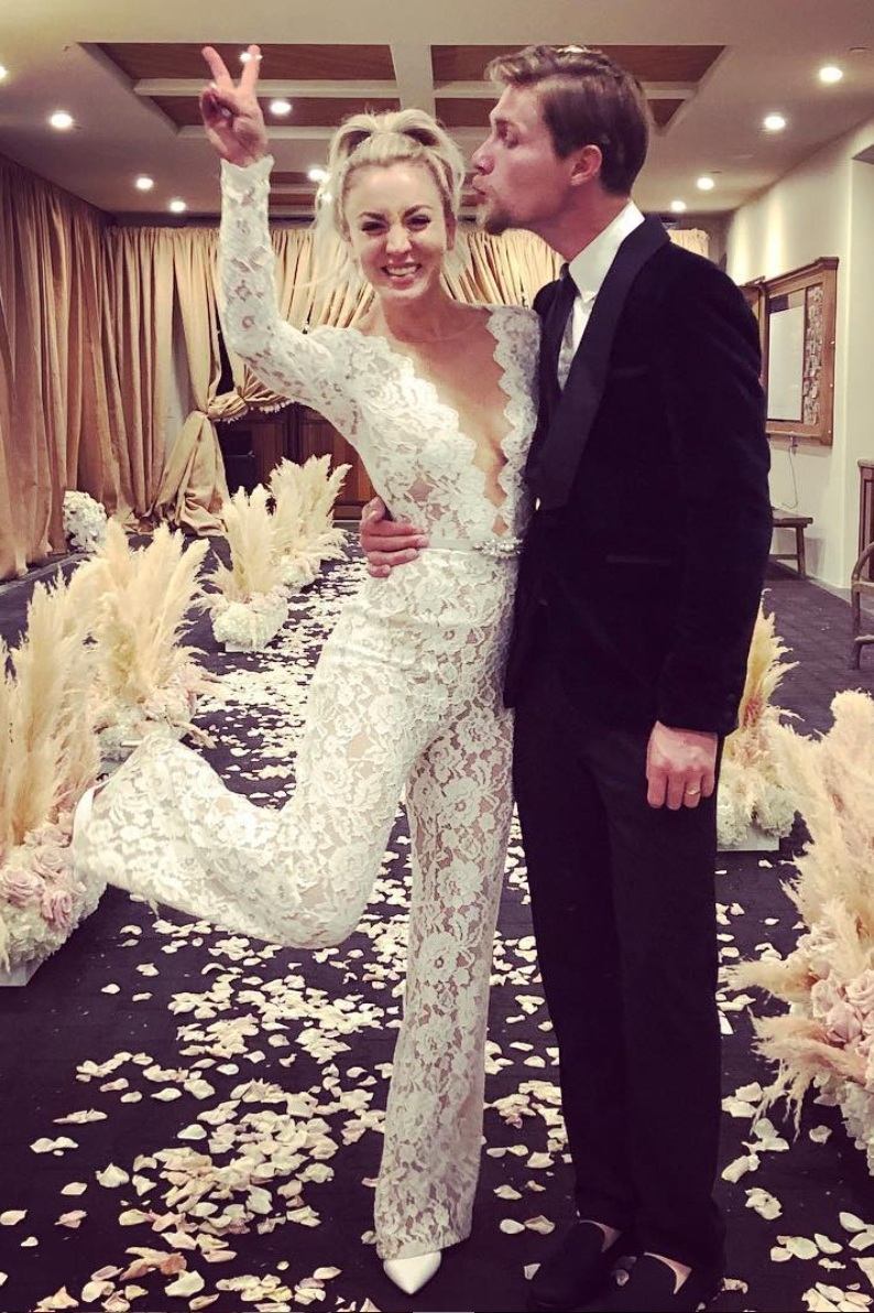 kaley cuoco wedding jumpsuit