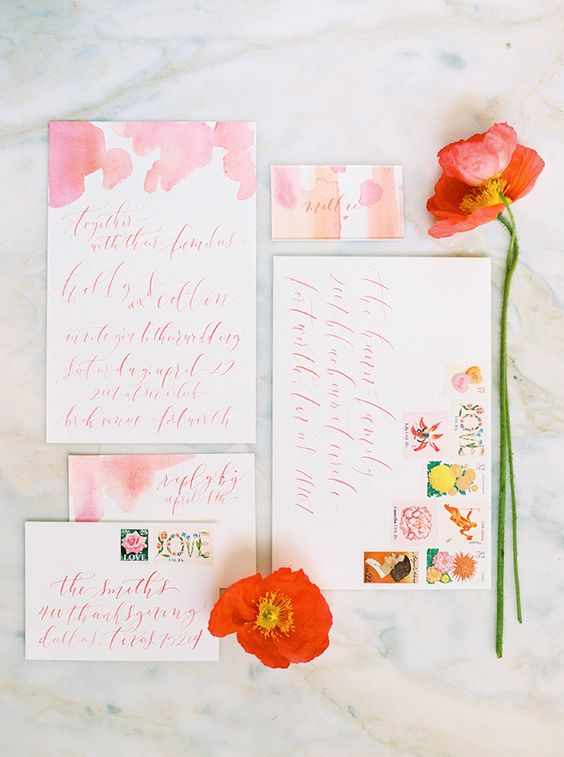 handmade coral wedding invites.jpg