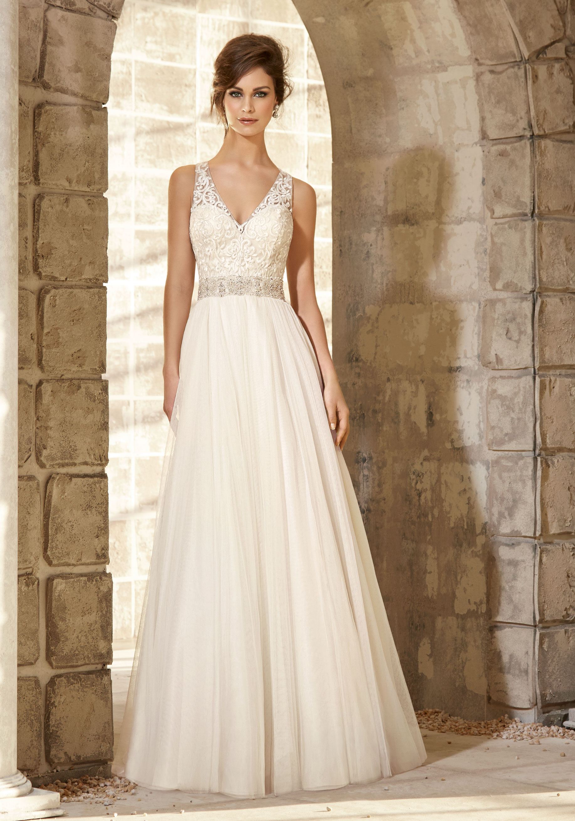 Mori Lee 5371 Ivory/Silver // Retail Price $865 | Our Price $605