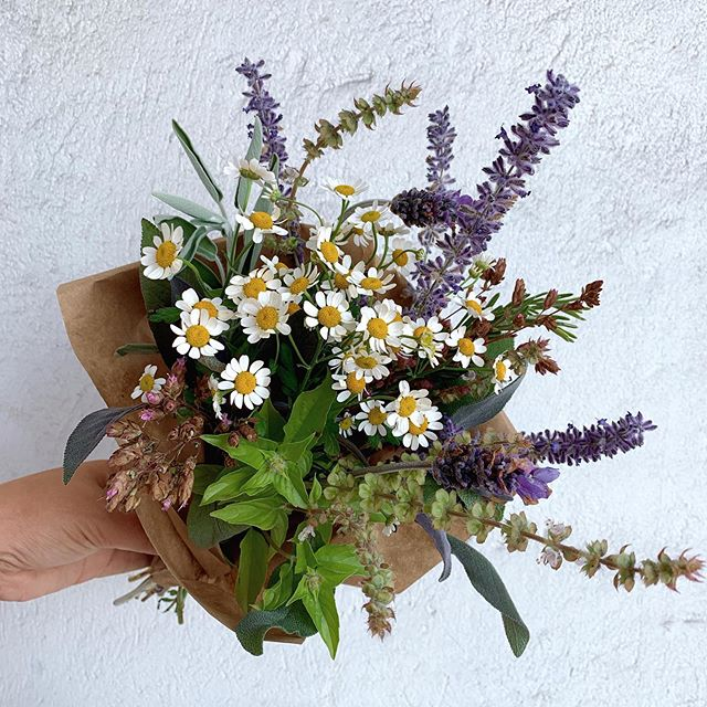 Herbal wrapped bouquets $15 while supplies last. A mix of lavender, sage, basil, oregano, rosemary, fever few, and Russian sage. All these herbs are known to be calming and uplifting.