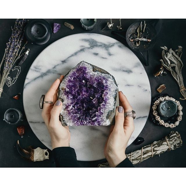 Amethyst promotes peace, and being calm and present. This is perfect for anyone that wants to relieve stress and anxiety. It clears negative energy and is protective. We also have rose quartz and selenite in the shop.