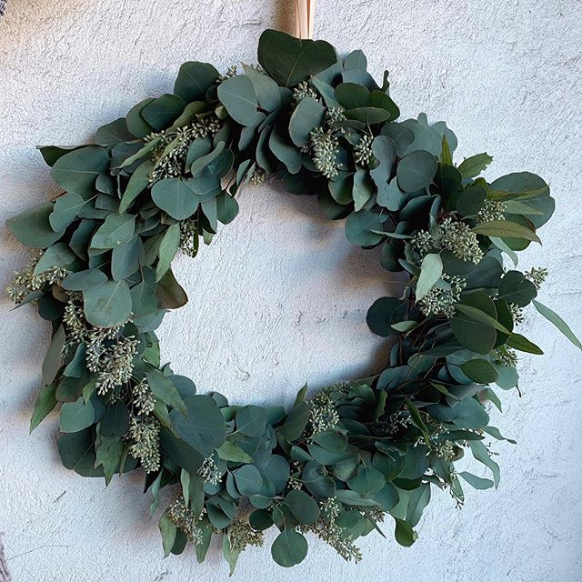 """Fresh 22"""" Eucalyptus wreaths $60. Dries beautifully and can be used inside or outside. If using outside keep out of direct sunlight to prevent fading."""