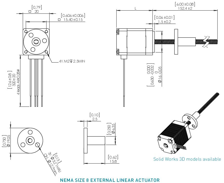 NEMA 8 External Linear Actuator Drawing
