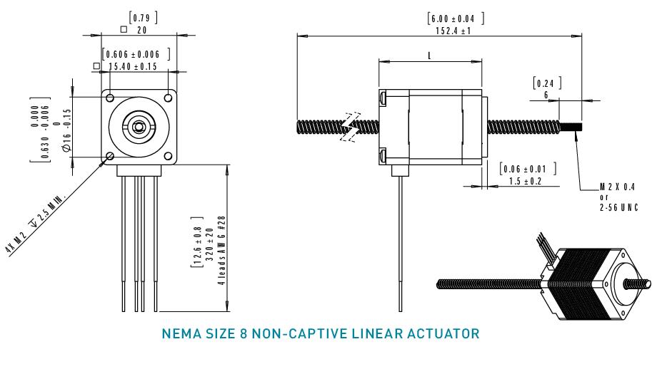 NEMA 8 Non-Captive Linear Actuator Drawing