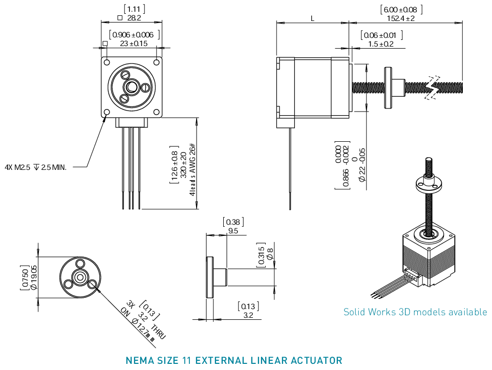NEMA 11 External Linear Actuator Drawing
