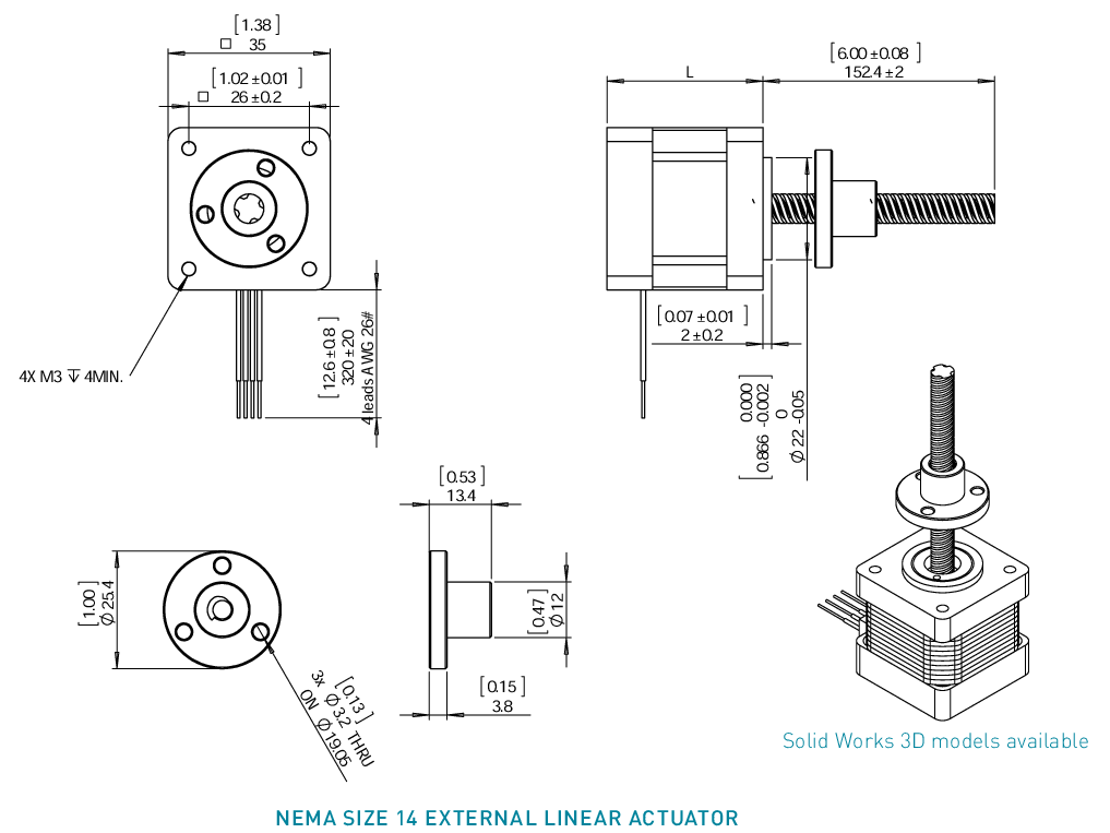 NEMA 14 External Linear Actuator Drawing