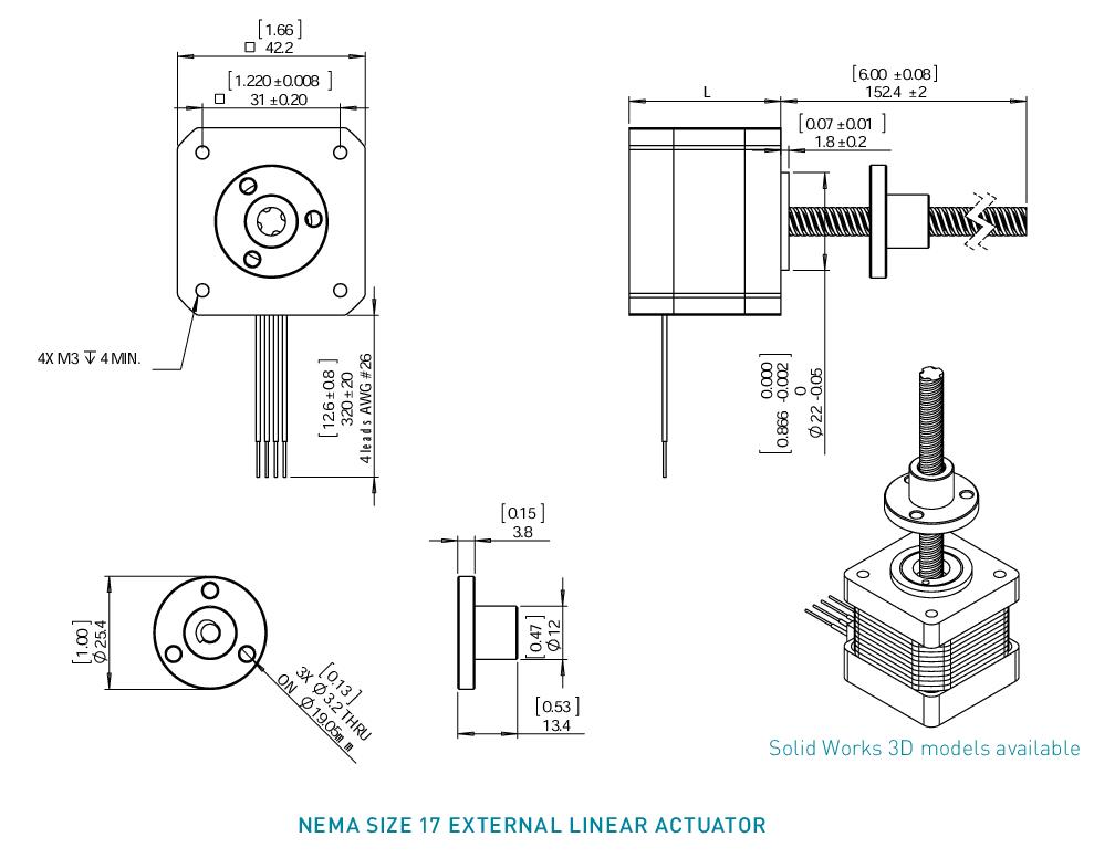 NEMA 17 External Linear Actuator Drawing