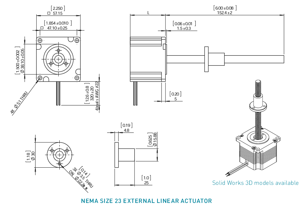 NEMA 23 External Linear Actuator Drawing