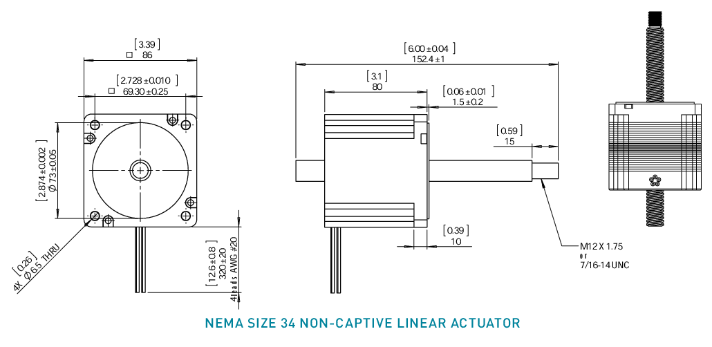 NEMA 34 Non-Captive Linear Actuator Drawing