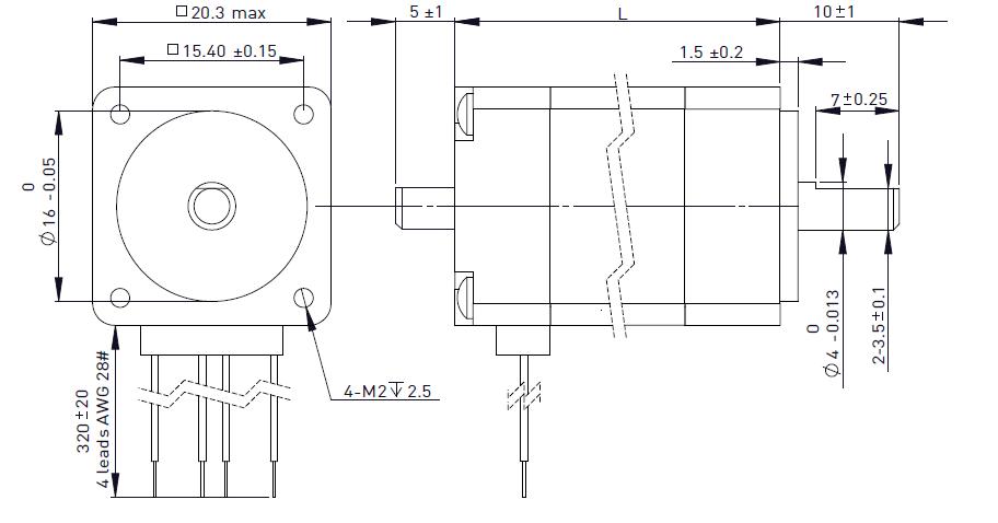 NEMA 8 Rotary Stepper Motor Drawing