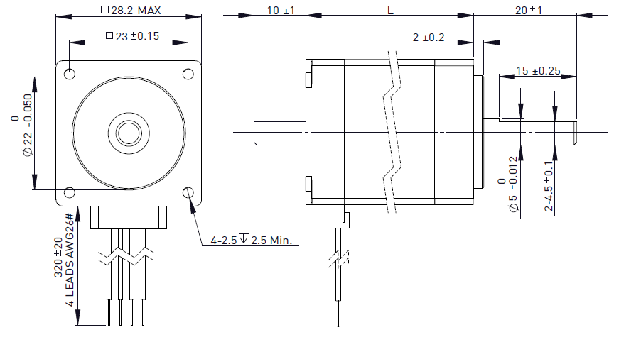 NEMA 11 Rotary Stepper Motor Drawing
