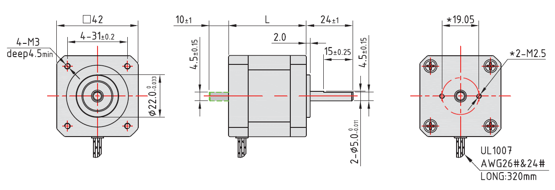 NEMA 17 Rotary Stepper Motor Drawing