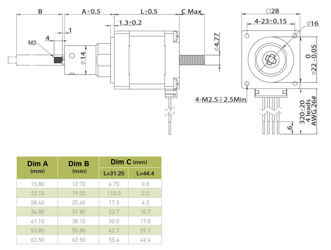NEMA 11 Captive Linear Actuator Drawing