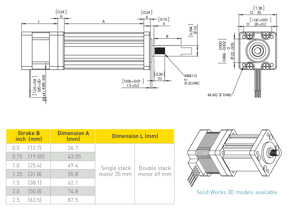 NEMA 14 Electric Cylinder Linear Actuator Drawing