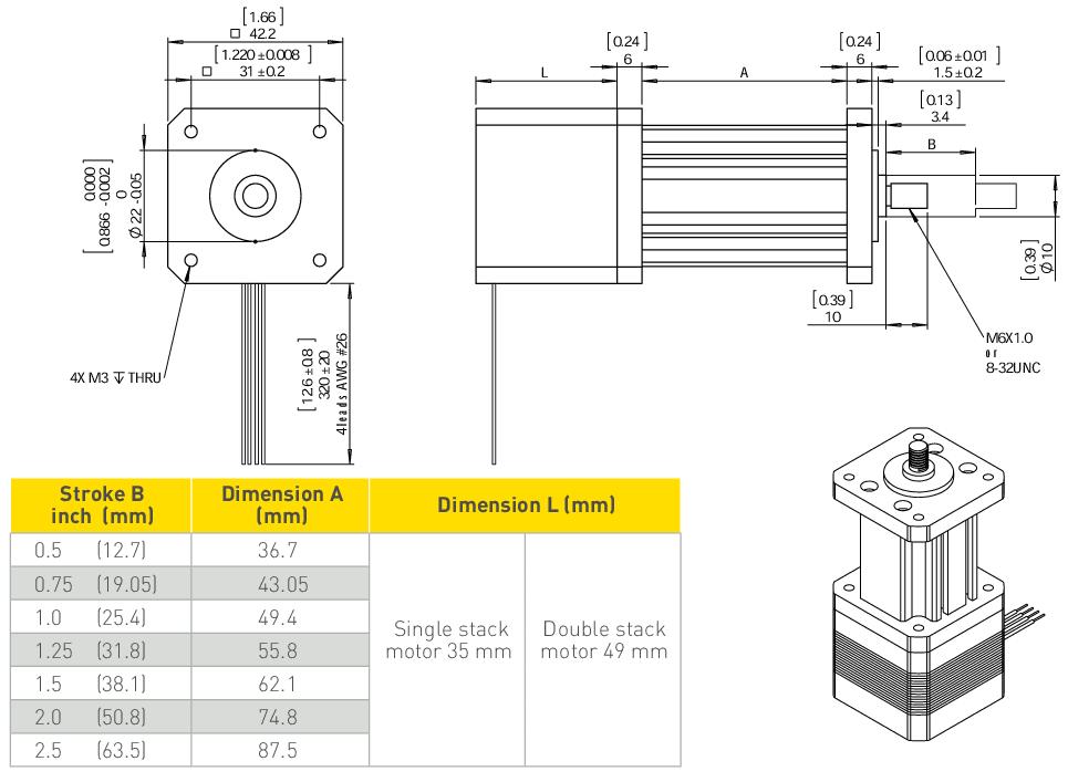 NEMA 17 Electric Cylinder Linear Actuator Drawing