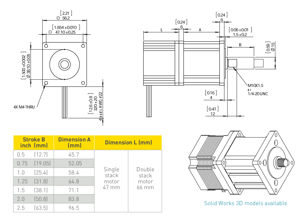 NEMA 23 Captive Linear Actuator Drawing